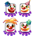 Four square faces of a clown vector
