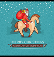 Christmas cute baby card with santa claus vector