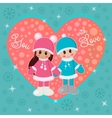 Girl and boy holding hands in winter clothes vector