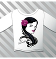 Shirt with a graphic beautiful girl vector