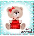 Teddy bear girl with a christmas gift vector