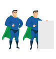 Funny superhero mascot in different poses vector