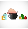 Pig in a pot on light background vector