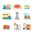 Set of colourful industrial factory vector
