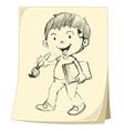 Boy artist sketch vector