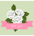 White roses with pink ribbon vector