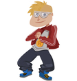White cartoon rapper vector