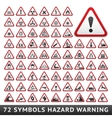 Triangular warning hazard symbols big red set vector