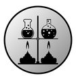 Laboratory burner and flask button vector