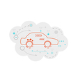 Abstract map of the cloud with car and lines vector