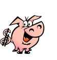 Hand-drawn of an dollar pig vector