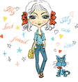 Pretty fashion girl with cute kitten vector