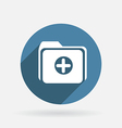 Folder for documents circle blue icon with shadow vector