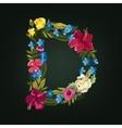 D letter flower capital alphabet colorful font vector