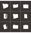 Black folder icons set vector