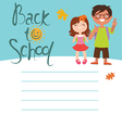 Back to school card design with two kids vector