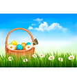 Easter background with easter eggs in basket and vector