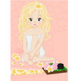 Blonde girl in spa vector