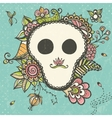 Floral doodle background with funny skull vector