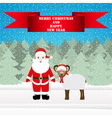 Santa and sheep in the christmas forest vector