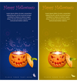Collect greeting card halloween with evil spirits vector