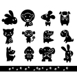 Zoo collection of animals silhouette vector