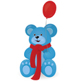 Blue teddy bear with red balloon vector