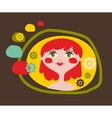 Cute portrait of the young girl with red hair vector