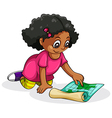 A black young girl studying vector