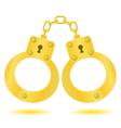 Gold handcuffs vector