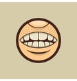 Smile mouth with teeth in circle vector
