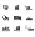 Set of computer and electronics devices icons vector