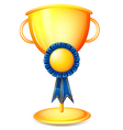 A cup trophy with a blue ribbon vector