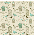 Vintage bird house pattern vector