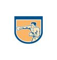 Boxer boxing punching shield cartoon vector