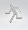 Silver exit running man icon vector
