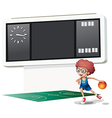 A boy playing basketball at the court vector