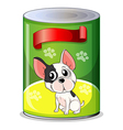 A can with a puppy vector