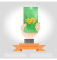 Hand hold money polygon infographic element with vector
