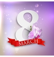 Eight march womens day greeting card with paper vector