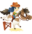 Cowgirl on small horse jumping a hurdle vector