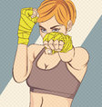 Asian female fighter with halftone effect vector