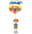 A boy holding a clown balloon with an eyeglass vector