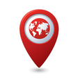 Map pointer with earth globe icon vector