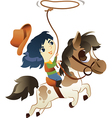 Girl on small horse with lasso vector