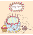 Retro doodle birthday cake card vector