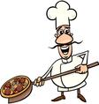 Italian cook with pizza cartoon vector