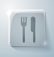 Fork and knife glass square icon with highlights vector