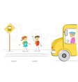 Kids at bus stop vector