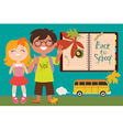 Back to school with kids and bus vector